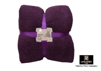 Teddy Bear Throw - Aubergine 150x200cm
