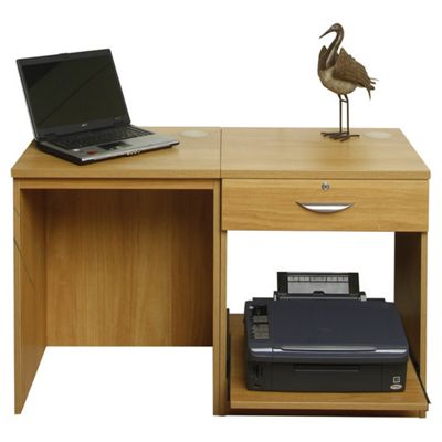 Enduro Home Office Desk / Workstation with Drawer and Printer Storage - Walnut