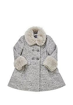 F&F Sequin Faux Fur Trim Princess Coat - Grey