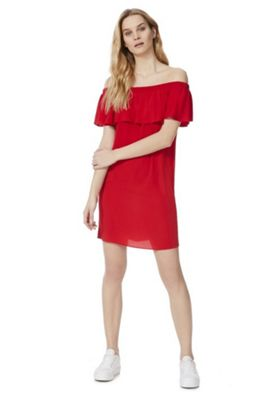 F&F Ruffle Bardot Summer Dress Red 20