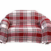 Homescapes Red Tartan Check Sofa and Bed Throw, 225 x 255 cm
