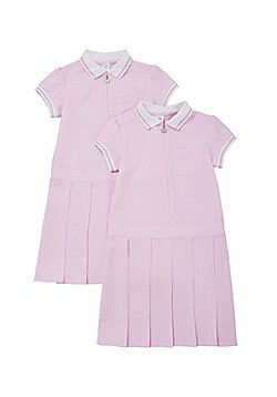 F&F School 2 Pack of Permanent Pleat Gingham Dresses - Pink & White