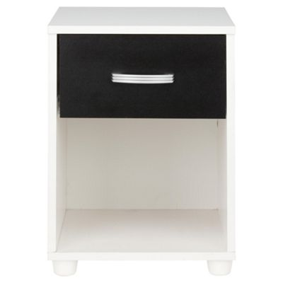 Reno 1 Drawer Bedside Table, White/Black