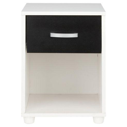 Reno 1 Drawer Bedside Table, White/Black