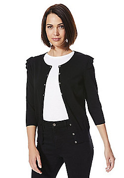 F&F Frill Shoulder Cardigan with As New Technology - Black