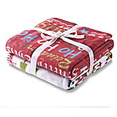 Catherine Lansfield Christmas Slogans twin pack Throws -120x150cm