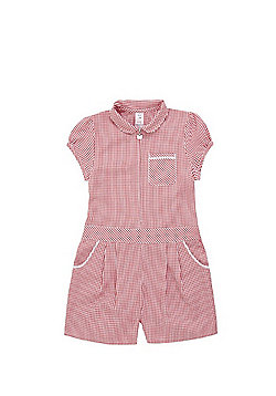F&F School Easy Iron Gingham Playsuit - Red & White
