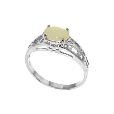 QP Jewellers 0.45ct Opal Catalan Filigree Ring in 14K White Gold - Size N