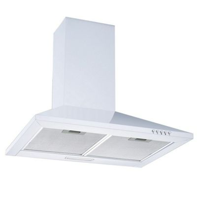 Cookology Ch600wh White Extractor Fan 60cm Kitchen Venting Chimney Cooker Hood