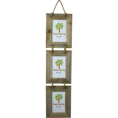 Nicola Spring Triple Driftwood 3 Photo Hanging Picture Frame - 4 x 6