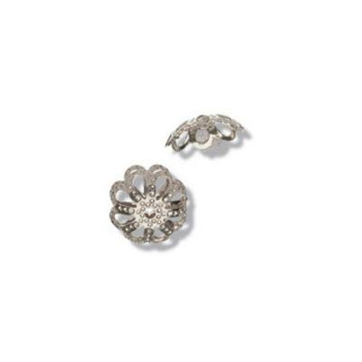 Impex Flower Filigree Caps Silver 4pk