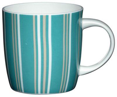 KitchenCraft Fine Bone China Mixed Blue Stripe Barrel Mug