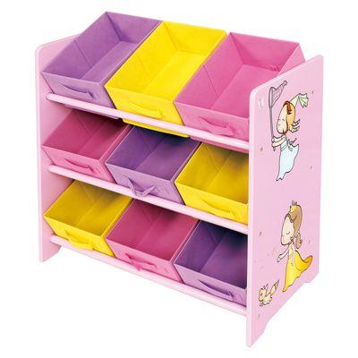 Princess Toy Storage Shelf with 9 Fabric Bins