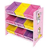 Princess Toy Storage Shelf with 9 Fabric Bins