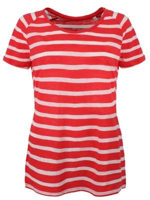 Women's Loose Knit Raglan Stripe T-shirt, Red and White