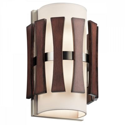 Auburn Stained Wood 2lt Wall Light - 2 x 60W E14