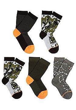 F&F 5 Pair Pack of Camo Print and Constellation Socks - Green