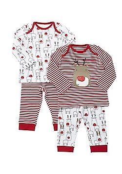 F&F 2 Pack of Reindeer Christmas Pyjamas - Red