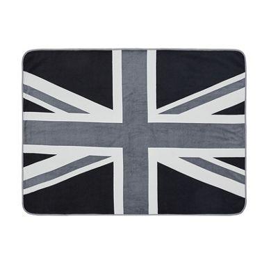 Catherine Lansfield Union Jack Grey Throw - 130x170cm