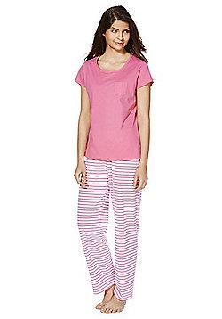 F&F Striped Jersey Pyjamas - Pink