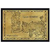 Game of Thrones Black Wooden Framed Antique Map GoT Poster