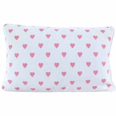 Homescapes Cotton Pink Hearts and Polka Dots Cushion Cover, 30 x 50 cm