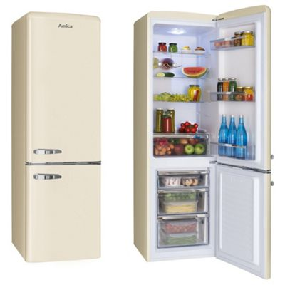 Amica FKR29653C 55cm 60/40 Split 1950's Designer Retro Fridge Freezer in Cream