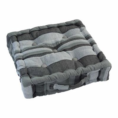 Morocco Striped Cotton Floor Cushion Grey