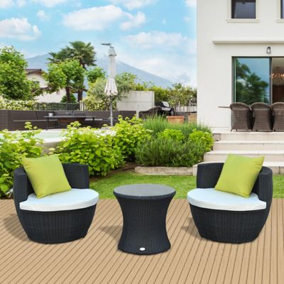 buy outsunny outdoor rattan 3pc stackable vase set with coffee table