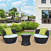 Outsunny Outdoor Rattan 3PC Stackable Vase Set with Coffee Table (Black)