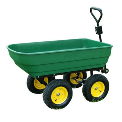 Homcom 125 litres Large Garden Cart 4 Wheel Trolley Wheelbarrow Trailer