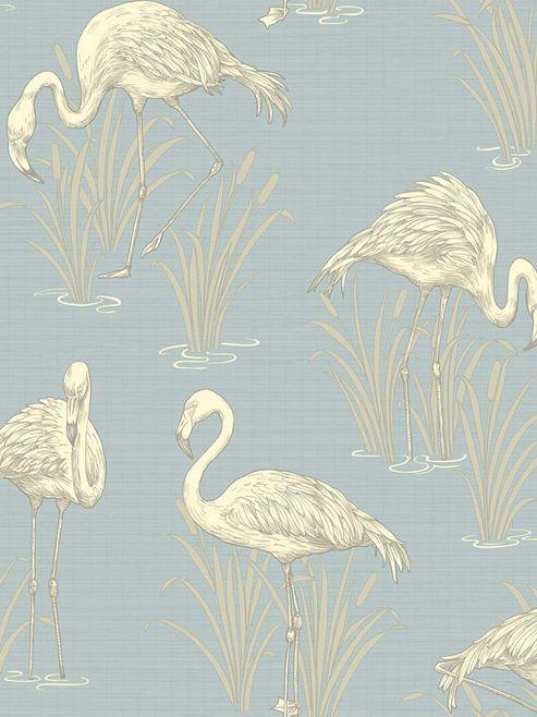 Vintage Lagoon Flamingo Wallpaper - Soft Blue - Arthouse 252605