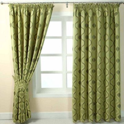 Homescapes Green Jacquard Curtain Modern Wave Pattern Fully Lined - 66