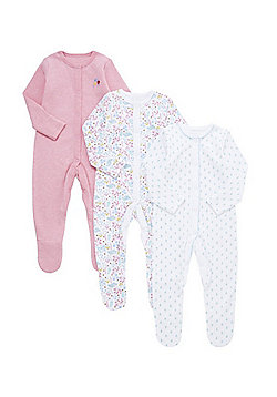 F&F 3 Pack of Floral Sleepsuits - Pink