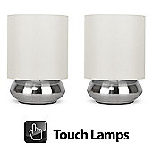 Pair of Touch Table Lamps, Brushed Chrome & Cream