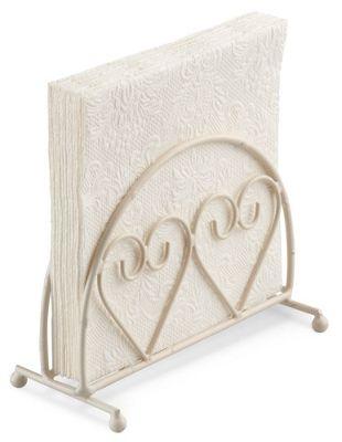 Ambiente Two Hearts Design Upright Napkin Holder, Cream