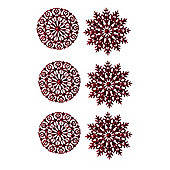 Pack of 6 Red Glitter Snowflake Hanging Decorations 12cm