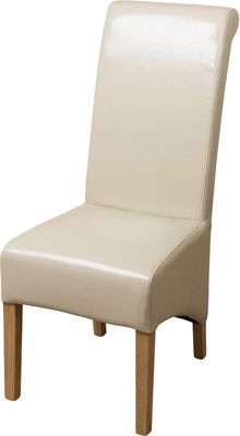 Montana Scroll Back Ivory Leather Dining Chairs