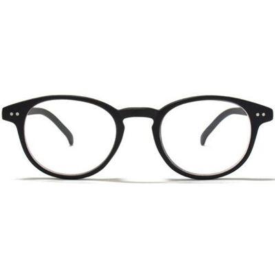 Glare Eyewear Keyhole Detail Round Reading Glasses in Matt Black