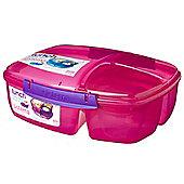 Sistema Triple Split 2L Lunch Box with Yoghurt Pot, Pink
