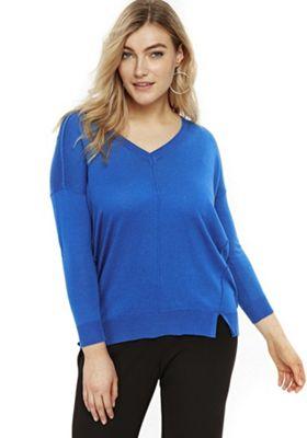 Evans Exposed Seam V-Neck Plus Size Jumper Blue 16