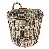 Homescapes Grey Rattan Round Wicker Basket with Handles