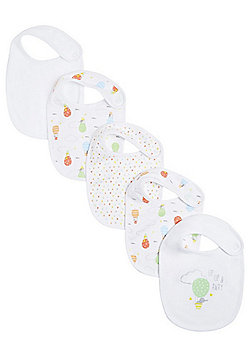 F&F 5 Pack of Hot Air Balloon Print Feeder Bibs - White
