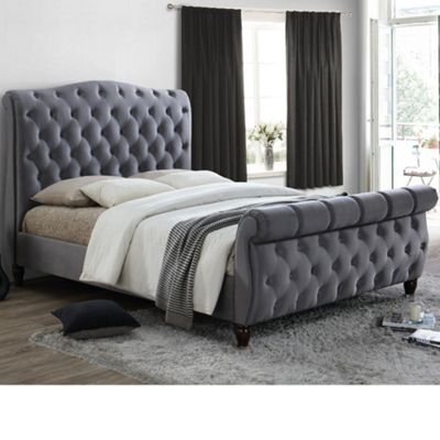 Happy Beds Colorado Velvet Fabric Scroll Sleigh Bed with Pocket Spring Mattress - Grey - 6ft Super King