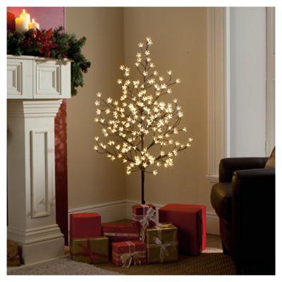 Festive 5ft Pre-lit Blossom Tree with black stem & warm white bulbs