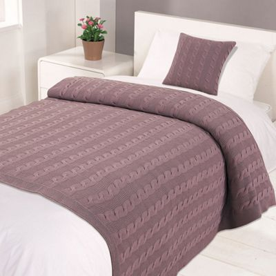 Highams 100% Cotton Woven Cable Knit Bed Blanket Throw Muted Heather 125 x 150cm