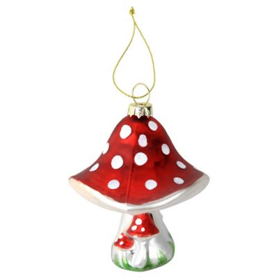 Metallic Red Glass Toadstool Mushroom Christmas Tree Bauble Decoration