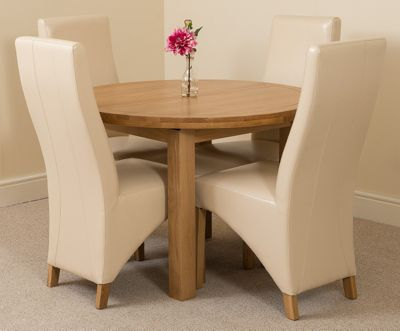 Edmonton Solid Oak Oval Extending 110 - 140 cm Dining Table with 4 Ivory Lola Leather Dining Chairs
