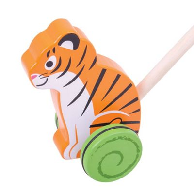 Bigjigs Toys Wooden Tiger Push Along - Walking Toys for Babies and Toddlers