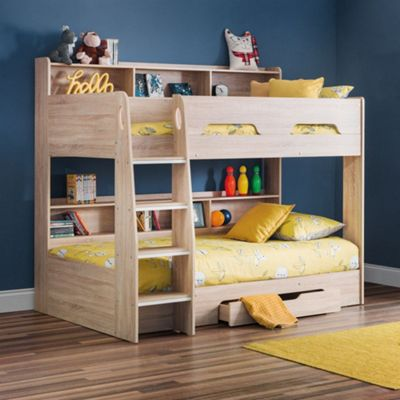 Happy Beds Orion Wood Kids Storage Bunk Bed and Underbed Storage Drawer with 2 Pocket Spring Mattresses - Oak - 3ft Single